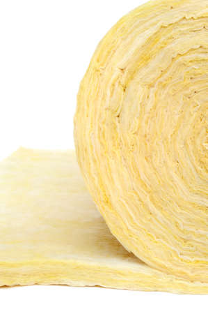 Roll of fiberglass insulation material, isolated on white background