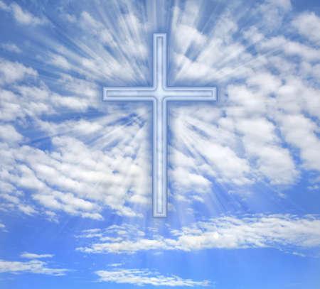 Christian cross with light b