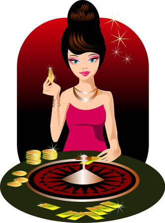 casino. Illustration of a woman in a casino.