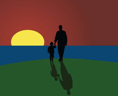 Vector illustration of a father and a son looking to the horizon as the sun sets.のイラスト素材