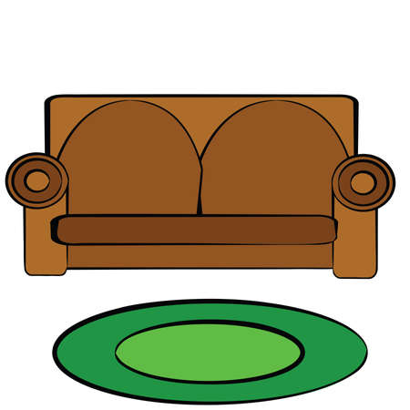 Cartoon illustration of a brown leather couch