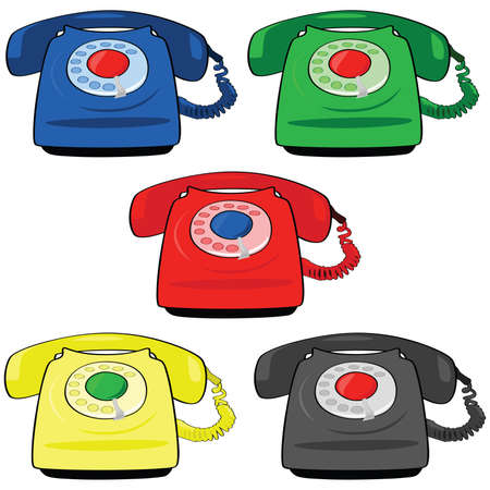 Illustration set of different colors of vintage telephones