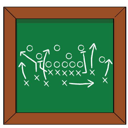 Cartoon illustration of a football game plan on a blackboard