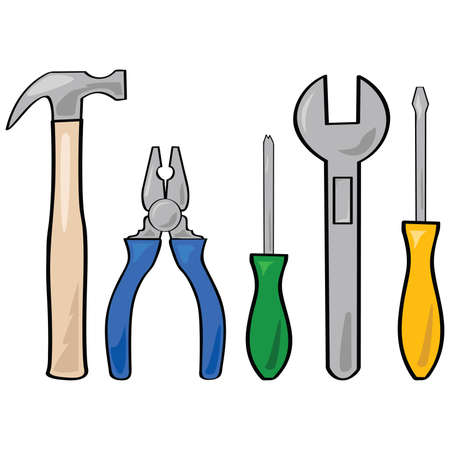 Cartoon illustration of a set of different household tools