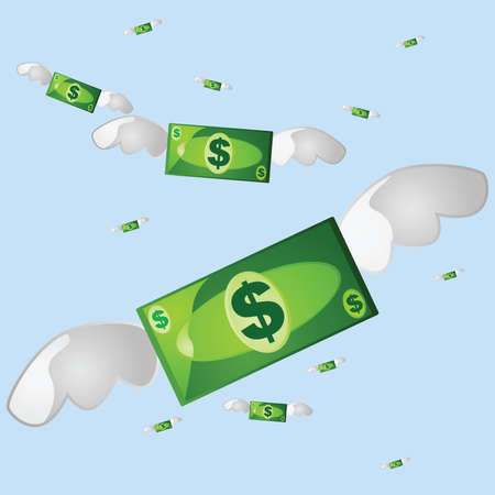 Illustration of several money bills flying away, with a blue sky in the background