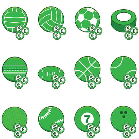 Collection of green sports balls with coins on top of them to symbolize sports betting