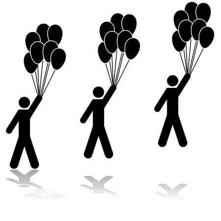 Icon illustration showing a man holding several balloons being carried away by them