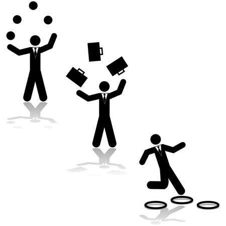Concept illustration showing a businessman juggling balls, suitcases or jumping through hoops