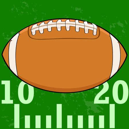 Cartoon illustration of an American Football on a field