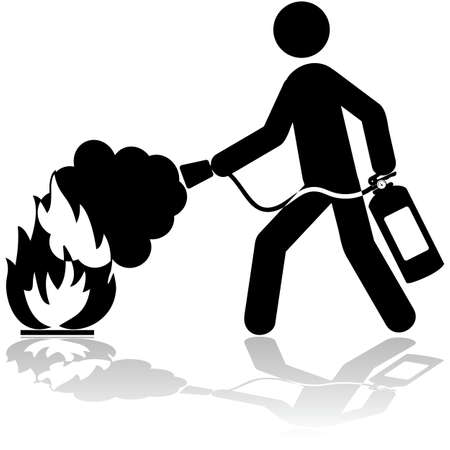 Icon illustration showing a man using a fire extinguisher to put out a fire