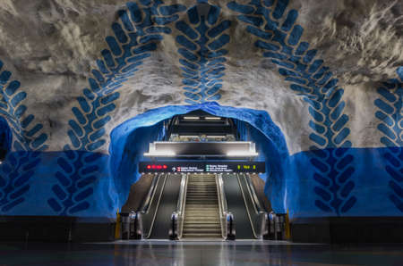 Photo for A picture of the blue line of the T-Centralen subway station (Stockholm). - Royalty Free Image