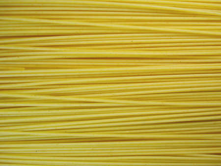 Close-up of spaghetti, horizontally arranged and horizontally framed