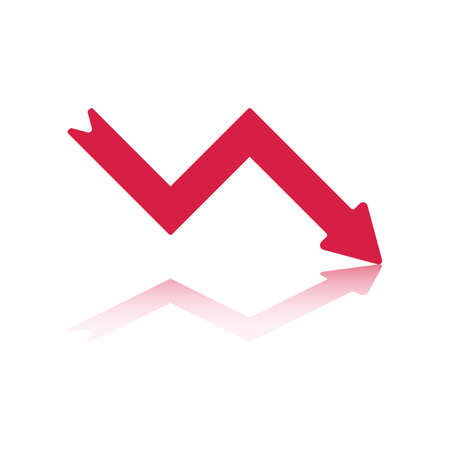 Declining Right Pointing Red Arrow Reflecting off Bottom Plane