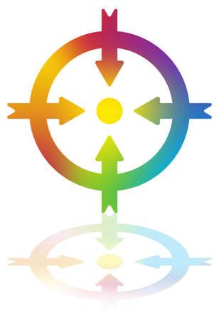 Illustration pour Four Colored Arrows Pointing to a Dot Inside a Circle - image libre de droit