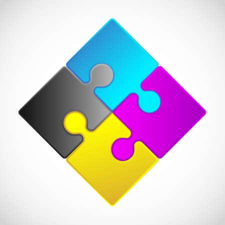 4 Piece Jigsaw Puzzle  each piece is an editable blend
