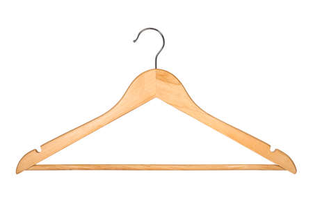 Photo pour Wooden Coat Hanger Isolated on White Background (with clipping path) - image libre de droit