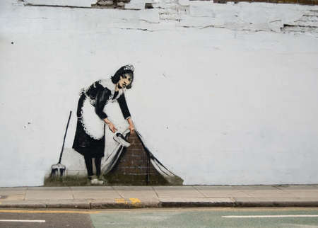 Satirical grafitti in a street of london