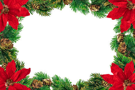 Photo pour Christmas decoration and baubles on white background. Christmas card and border for wallpaper. - image libre de droit