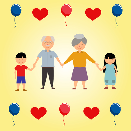 Ilustración de Grandparents Day Illustration with children hearts and baloons - Imagen libre de derechos