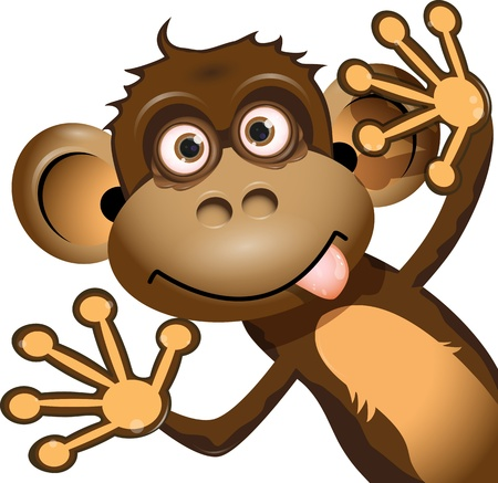 illustration a brown monkey on a white background