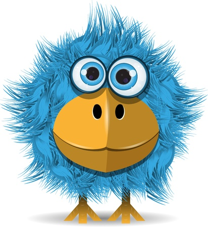 Illustration for illustration, funny blue bird with big eyes - Royalty Free Image
