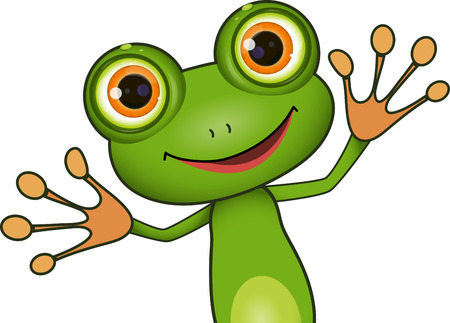 standing cute green frog with big eyes