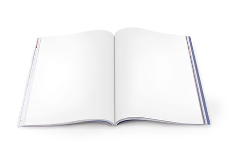 Open Magazine with blank white pages on a white background. File includes paths for each page.