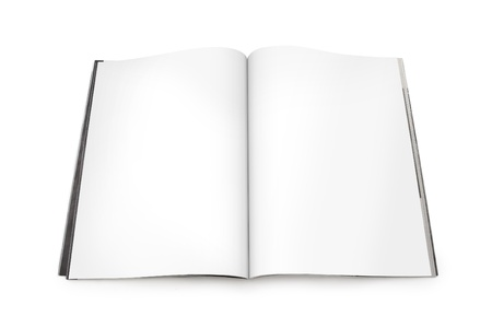 Open Magazine with Blank White Pages