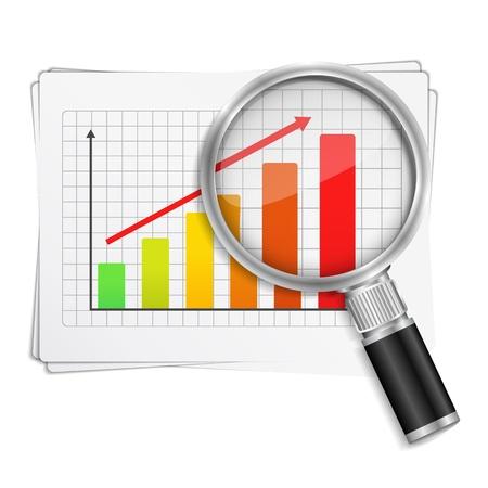 Magnifying glass showing rising bar graph
