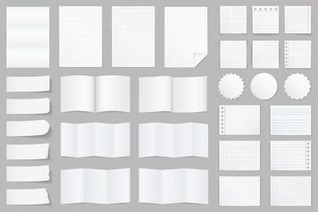 Collection of different paper - A4 paper, folded paper, brochure templates, stickers, notes