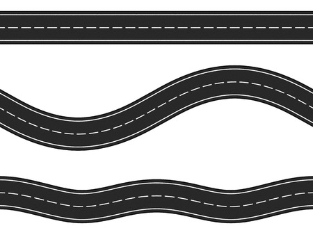 Three seamless horizontal asphalt roads on white background