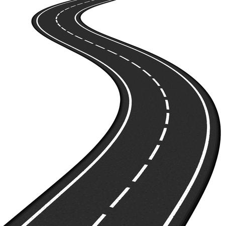 Black asphalt road on white background