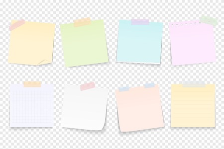 Illustration for Blank paper notes attached by adhesive tape - Royalty Free Image