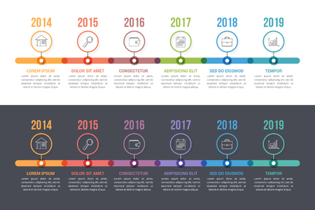 Illustration pour Two timeline templates with colorful circles, workflow or process diagram, vector eps10 illustration - image libre de droit