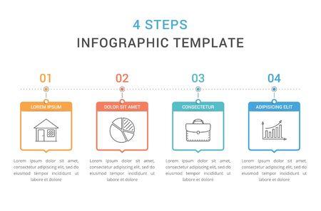 Illustration pour Infographic template with 4 steps, workflow, process chart, vector illustration - image libre de droit