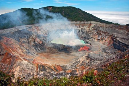Smoking crater of Poas volcano, Costa Rica.