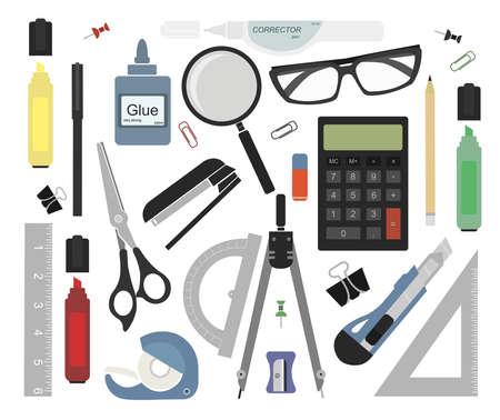 Illustration pour Set of stationery tools: marker, paper clip, pen, binder, clip, ruler, glue, zoom, scissors, scotch tape, stapler, corrector, glasses, pencil, calculator, eraser, knife, compasses, protractor - image libre de droit