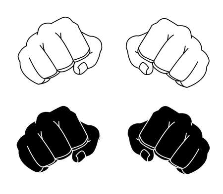 Comics style clenched man fists black and white contour lines illustration isolated on white