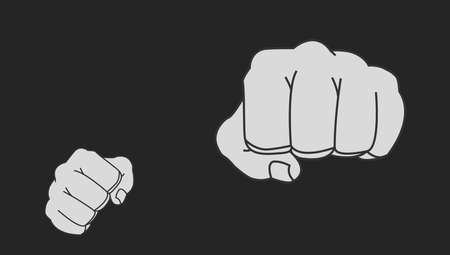 Clenched striking man fists in fight stance. Ready to fight. Chalk vector clip art illustration isolated on blackboard