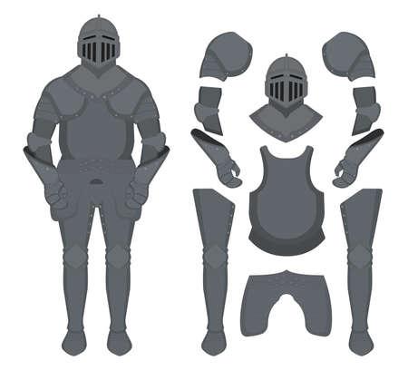 Medieval knight armor set. Helmet, shoulders, gloves, breastplate, leggings. Color clip art vector illustration isolated on white
