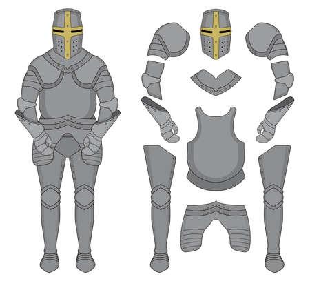 Medieval templar knight armor set. Helmet, shoulders, gloves, breastplate, leggings. Color clip art vector illustration isolated on white