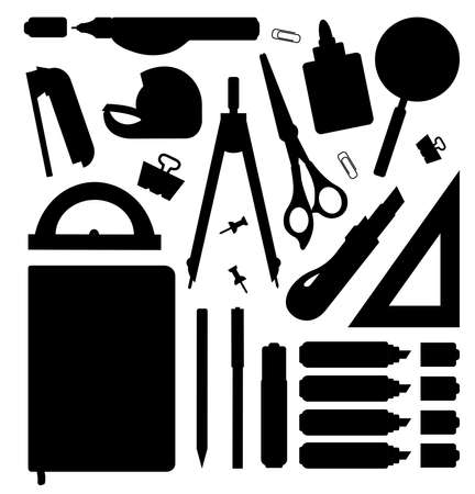 Stationery tools silhouettes set. Vector clip art illustrations isolated on white