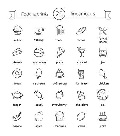 Food and drinks linear icons set with signs. Vector line art illustrations