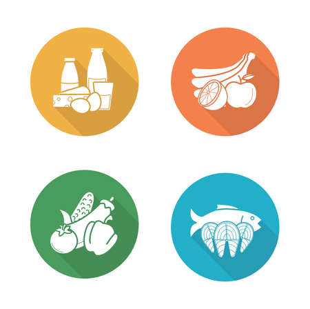 Food flat design icons set. Dairy milk products and vegetables long shadow symbols. Salmon fish fillet and fruits silhouette illustrations on color circles. Diet nutrition. Vector infographics element
