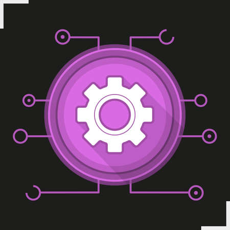 Gear digital color icon  Settings symbol  Cogwheel in round
