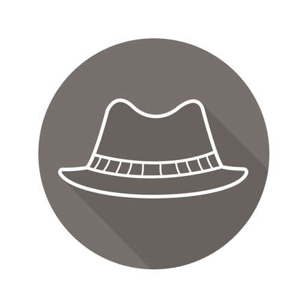 Homburg hat flat linear long shadow icon. Classic men's hat. Vector line symbol
