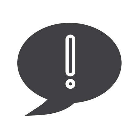 Exclamation mark glyph icon. Silhouette symbol. Important information. Attention. Chat box with exclamatory mark inside. Negative space. Vector isolated illustration