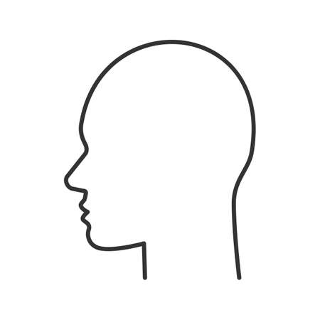 Ilustración de User linear icon. Human head. Thin line illustration. Profile contour symbol. Man face side view. Vector isolated outline drawing - Imagen libre de derechos