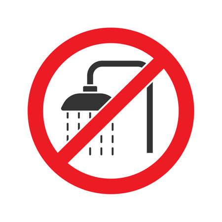 Illustration for Forbidden sign with shower faucet glyph icon. Stop silhouette symbol. Do not use unit in water. Negative space. Vector isolated illustration - Royalty Free Image