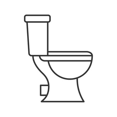 Illustration pour Lavatory pan linear icon. Thin line illustration. Toilet. Contour symbol. Vector isolated outline drawing - image libre de droit